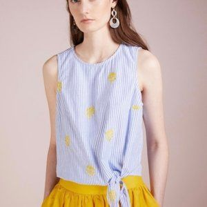 jcrew blue embroidered pineapple striped knot tank